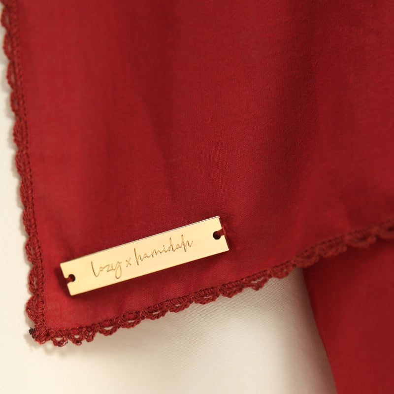 Embroidery Signature Square Maroon