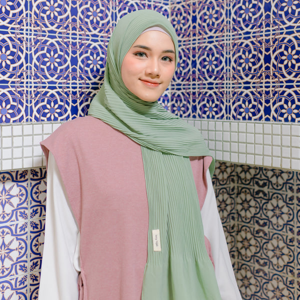 Bawal Pleats Shawl Avocado
