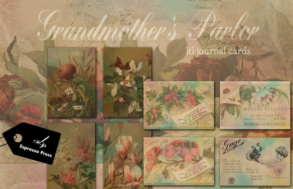 Grandmother's Parlor Digital Journal Cards
