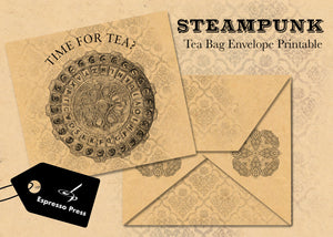 Steampunk Teabag Envelope Printable
