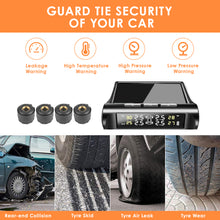 Load image into Gallery viewer, TPMS Car Tire Pressure Monitoring System Solar Power Wireless LCD Display Voice Reminder