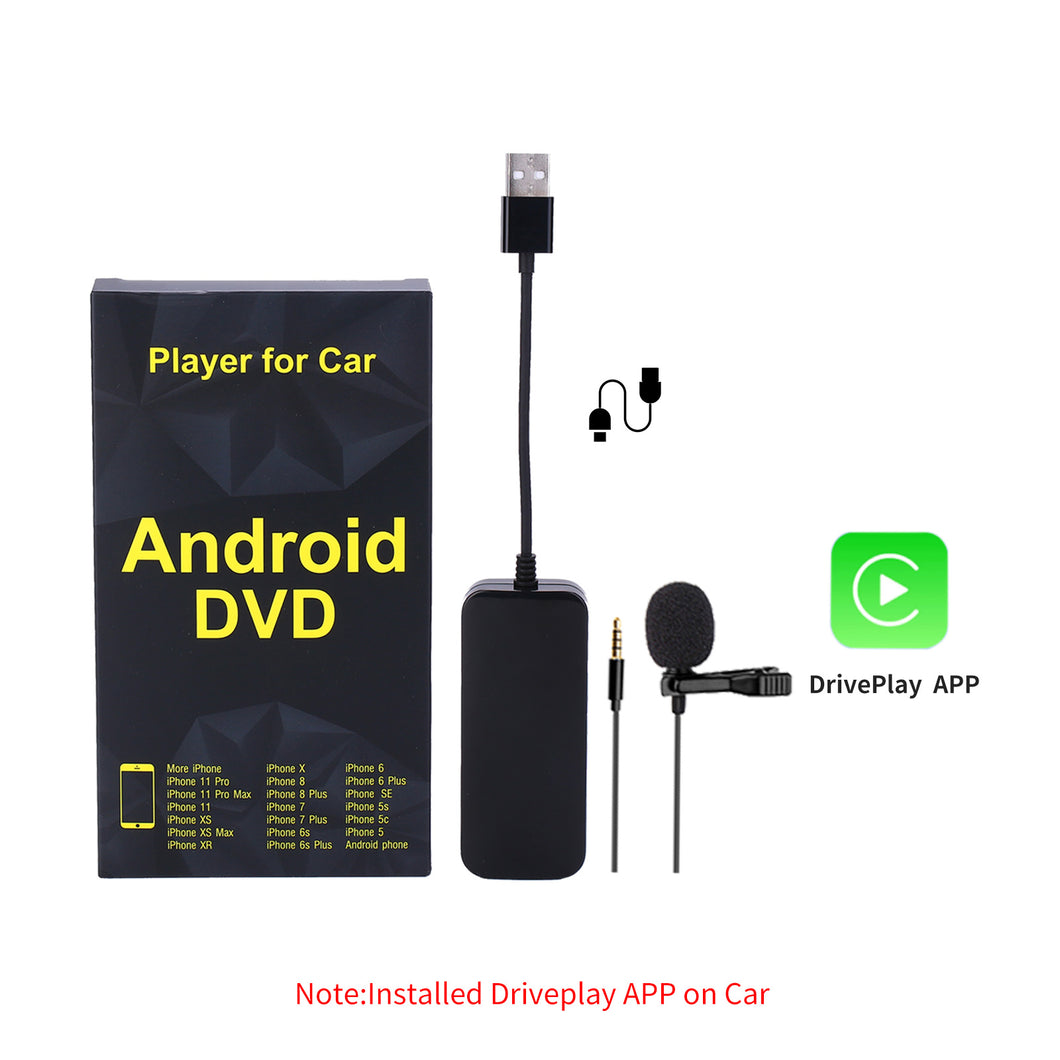 Wired USB CarPlay Dongle Android Auto Adapter with Microphone Multimedia Player Receiver Google Maps