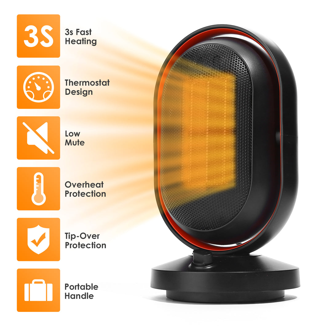 Portable Electric Space Heater 6.3x6.3x11 inches 1500W Ceramic Heater 3s Fast Quiet Heating