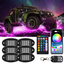 Load image into Gallery viewer, RGB LED Rock Lights 96 LEDs Highlighted Underglow Light APP RF Control for Off Road Jeep Truck SUV UTV ATV Boat 6 Pods