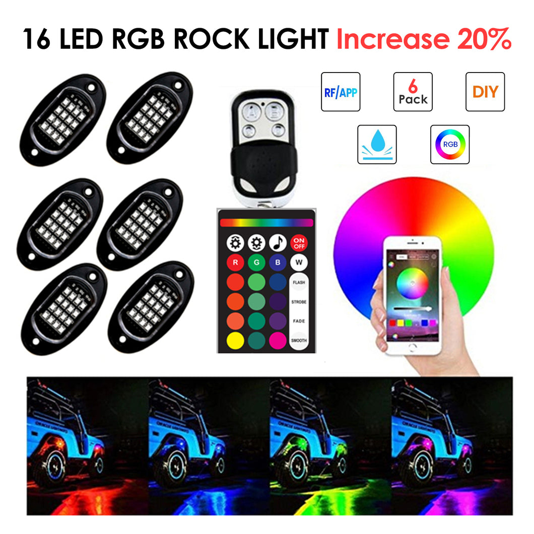 RGB LED Rock Lights 96 LEDs Highlighted Underglow Light APP RF Control for Off Road Jeep Truck SUV UTV ATV Boat 6 Pods