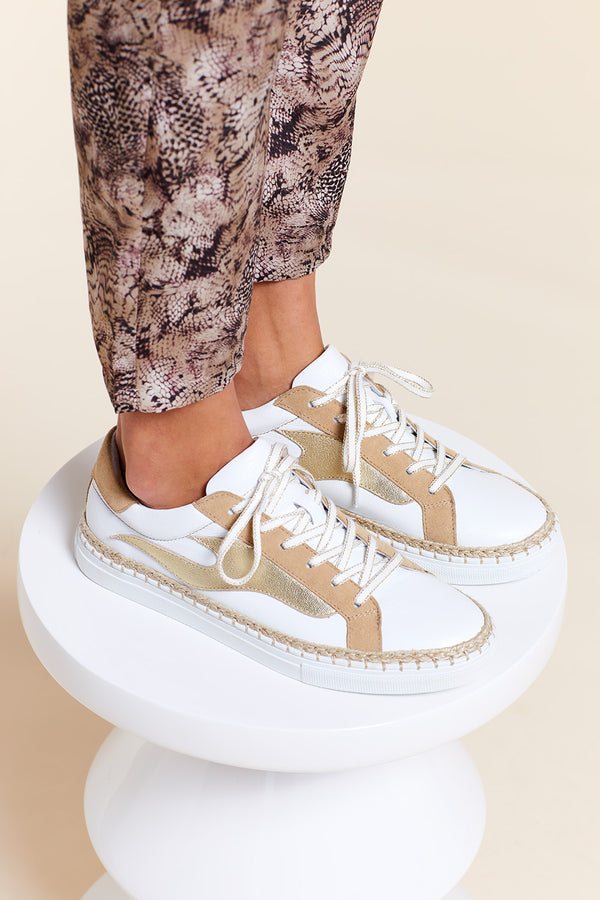 OZONE - Tennis ficelle, blanche et light gold en cuir