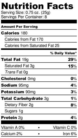 Original Macadamia Nut Butter Nutrition Facts Label