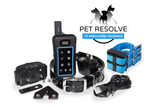 Pet Resolve Dog Training System for Three Dogs - Full Set Plus Two Extra Receiver Collars