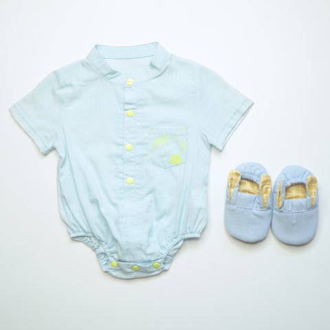 Denim Bunny Mini Shoes with Emery Neon Print Onesie
