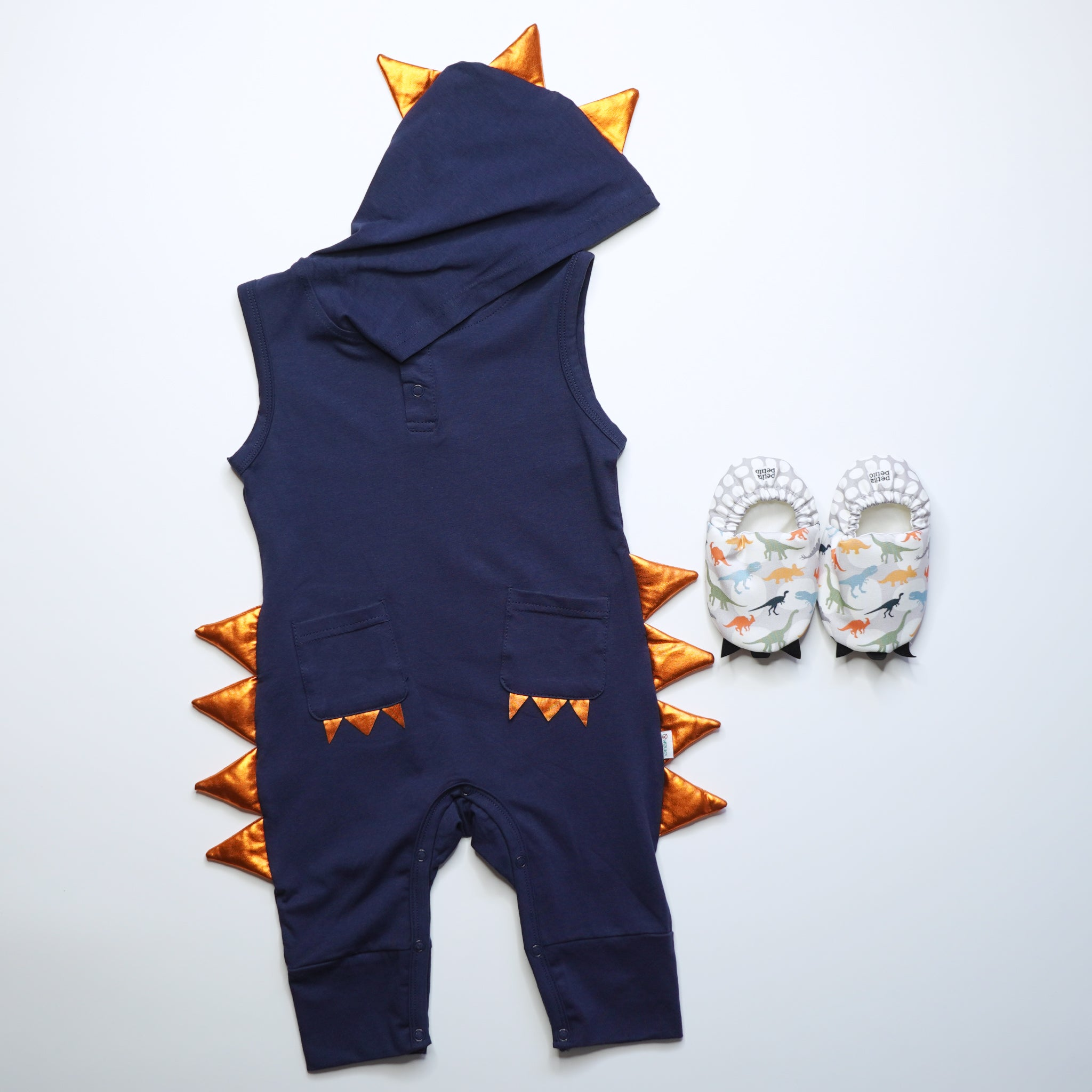 Little Dino Mini Shoes with Jacob Dino Jumpsuit - Navy Blue
