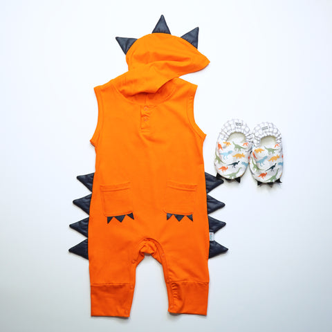 Little Dino Mini Shoes with Jacob Dino Jumpsuit - Orange
