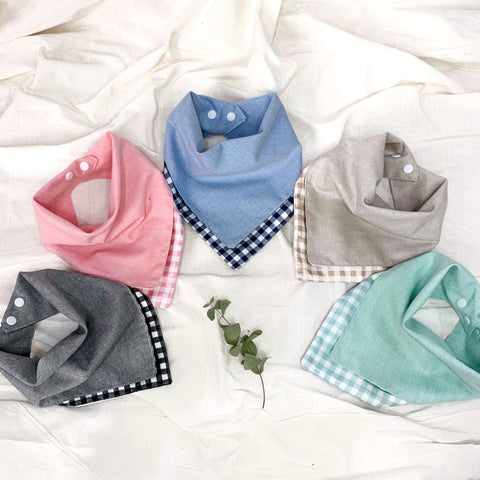 Plaid Cotton Reversible Bib