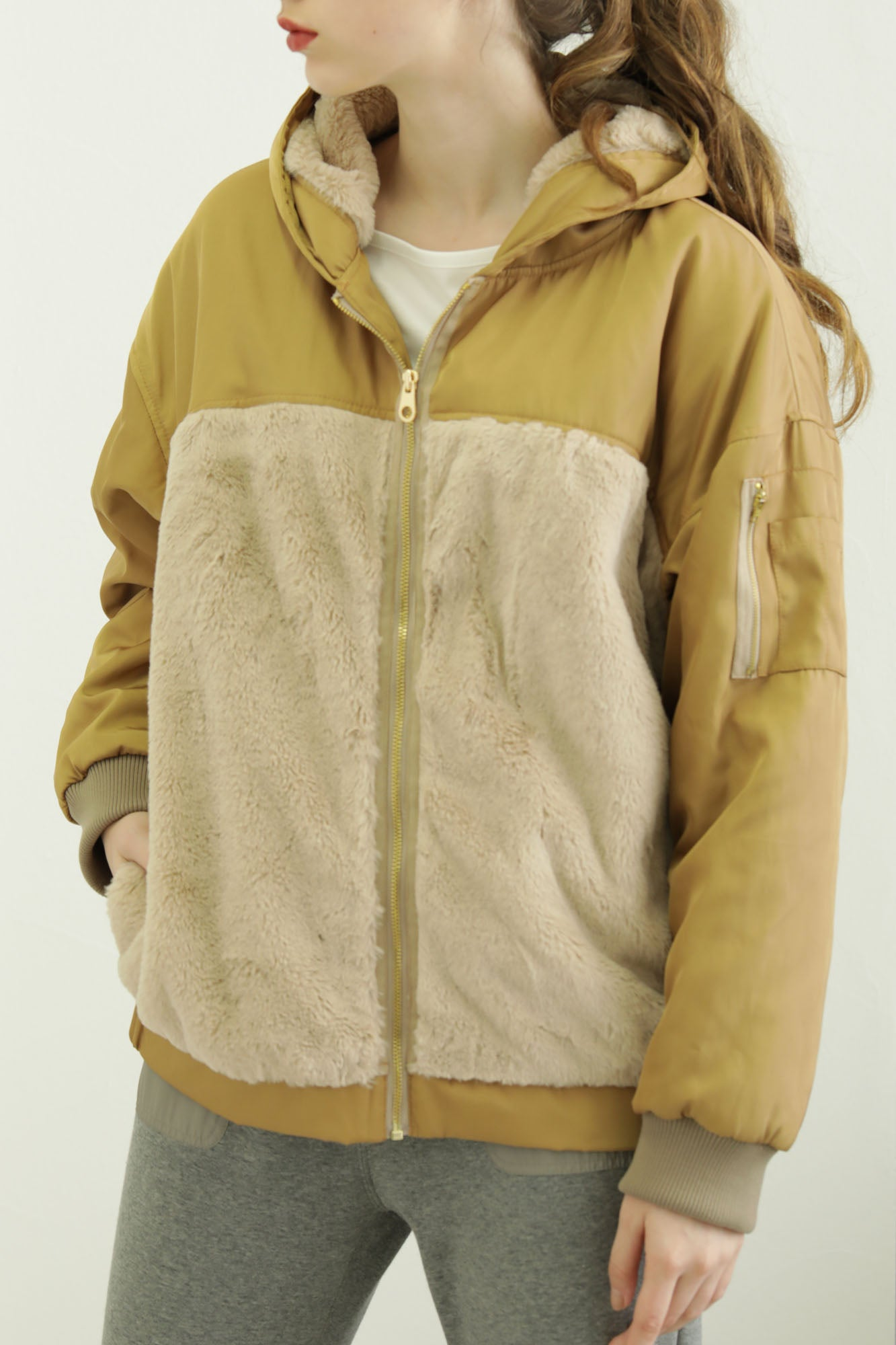 fur combination BIG military blouson