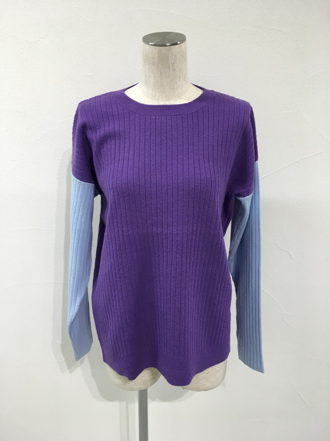 color combination rib crew knit