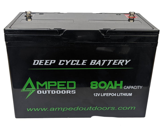 Amped Outdoors 12V 80AH Lithium-iron (LiFePO4) High Performance Battery — Limited supply. Order now!