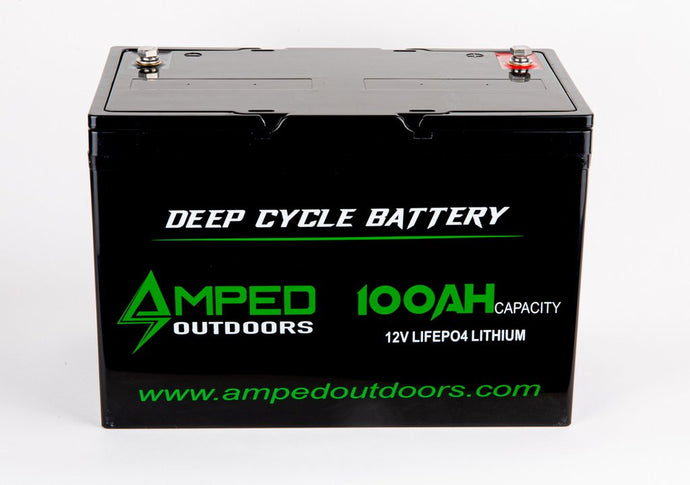 Amped Outdoors 12V 100AH Lithium-iron (LiFePO4) High Performance Battery — Limited supply. Order now!