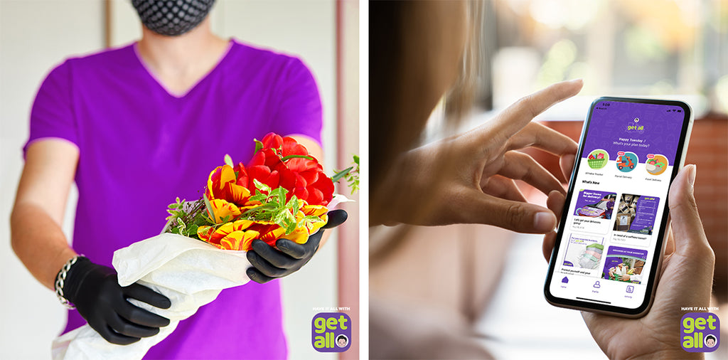 delivery man with flowers and same day delivery app