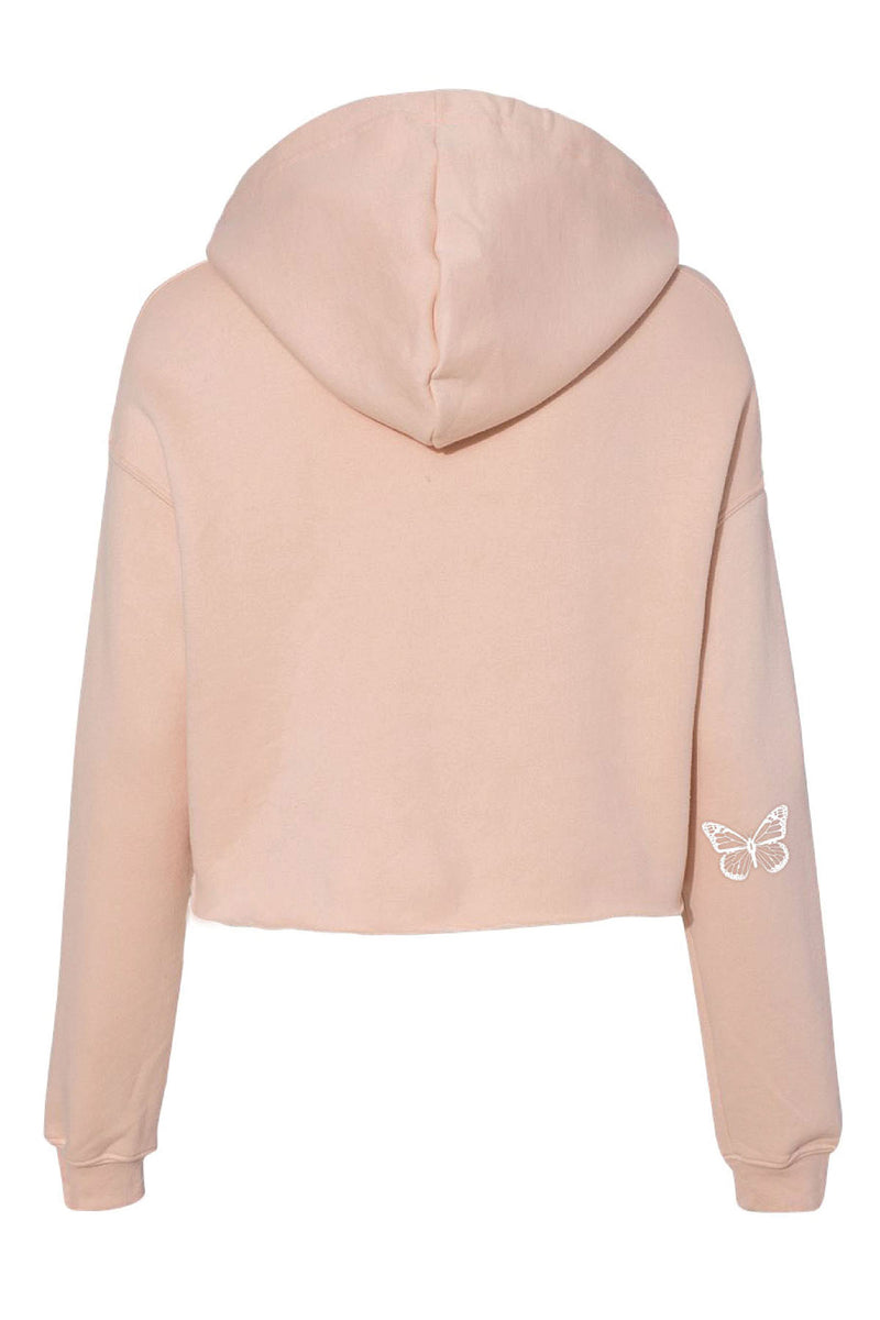 Embroidered Be Kind Cropped Hoodie