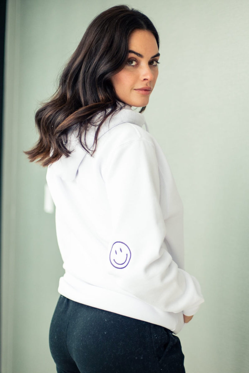 Embroidered Keep Smiling Boyfriend Hoodie