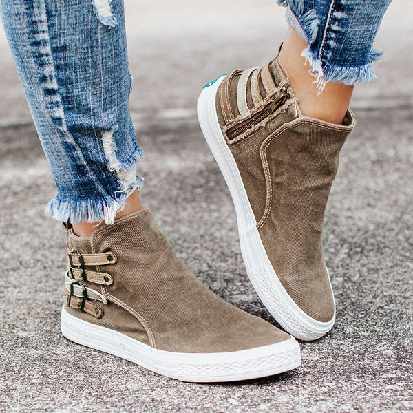 Women's Buckle Flat Comfortable Canvas Shoes