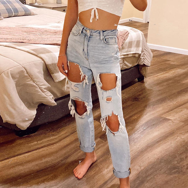 Ladies casual fashion ripped long jeans