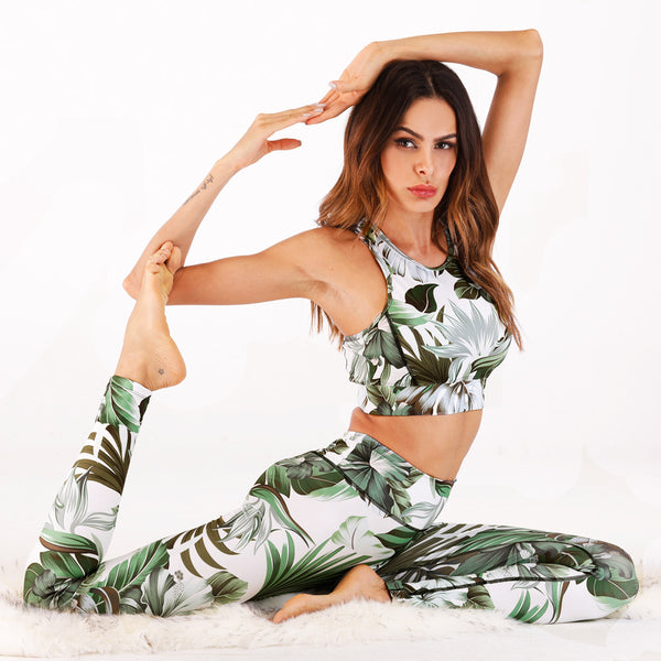 New digital printing vest pants yoga fitness suit