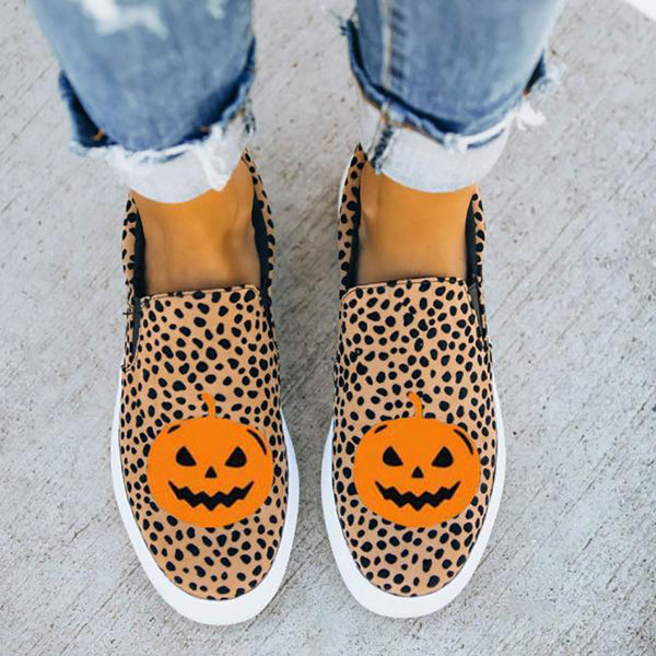 Women's Halloween Pumpkin Monster Leopard Print Flats