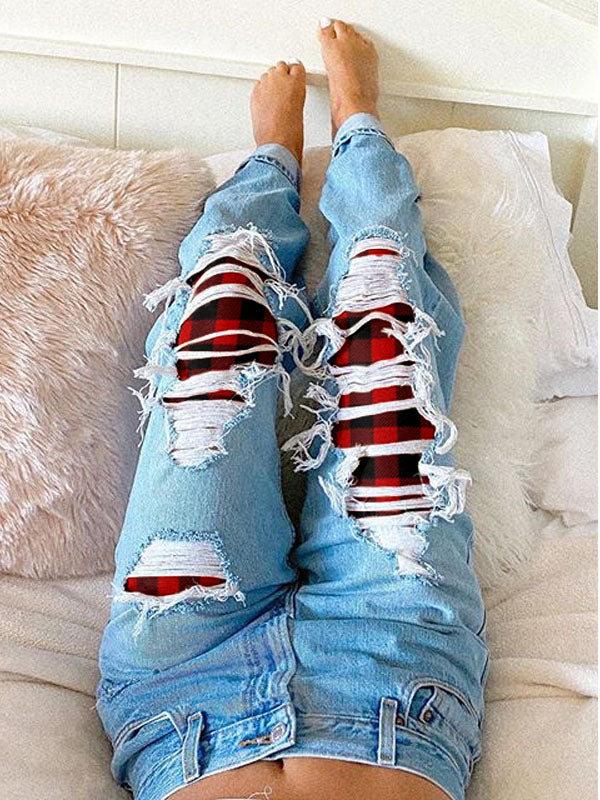 Women's Red Plaid Ripped Jeans
