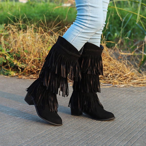 Women's Retro Fringed Thick Heel Boots