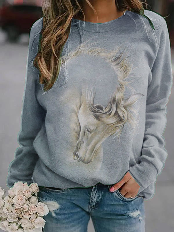 Abstract Horse Print Pullover Sweatshirt