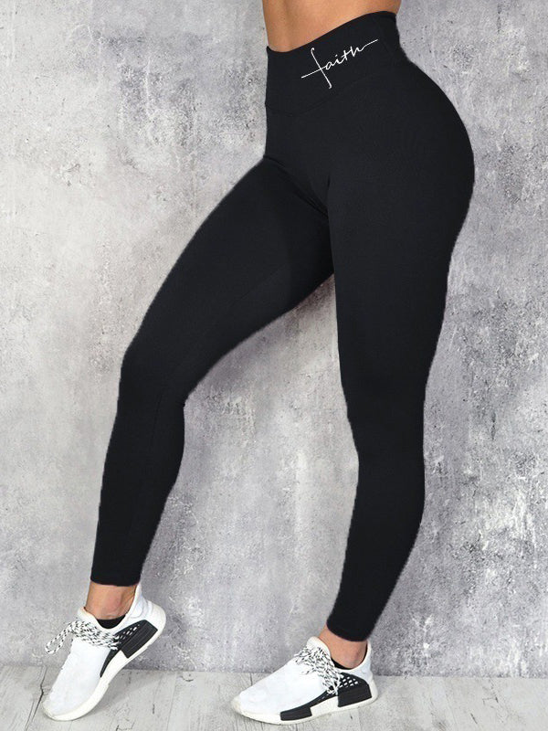 Women's Faith Letter Hip Lifting Waist Leggings Sports Yoga Pants
