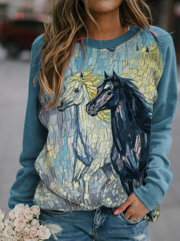 Mosaic Horse Patchwork Pullover