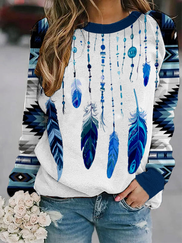 Ladies western ethnic feather diamond check print sweatshirt