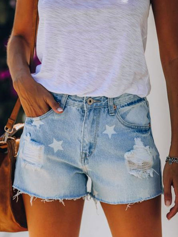 Fashionable ragged short jeans