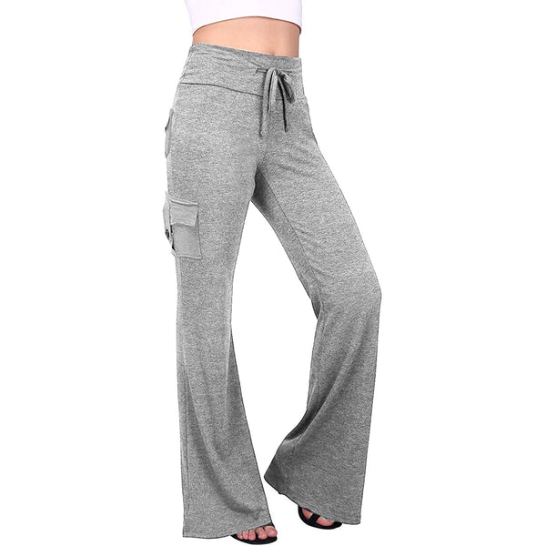 Women's Comfortable Textured Pockets Drawstring Yoga Pants