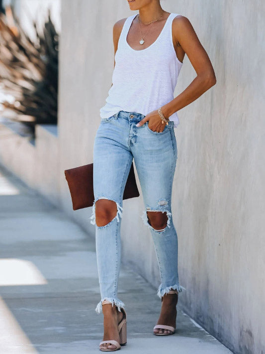 Fashion ripped long jeans