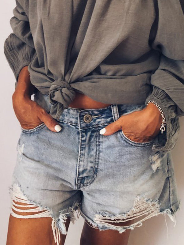 Ripped casual Jean shorts