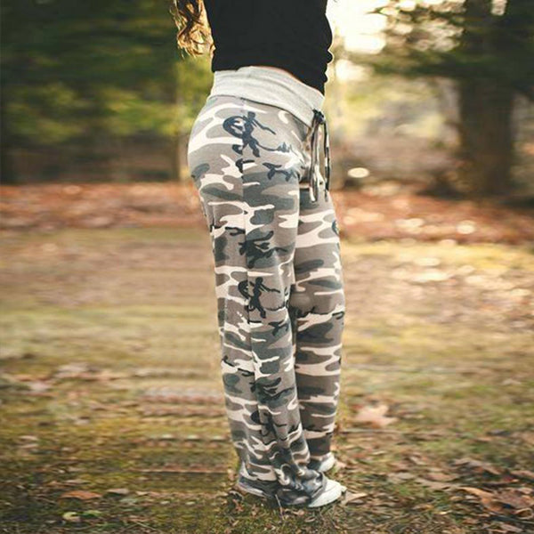 Women Drawstring Casual Camouflage Printed Home Pants