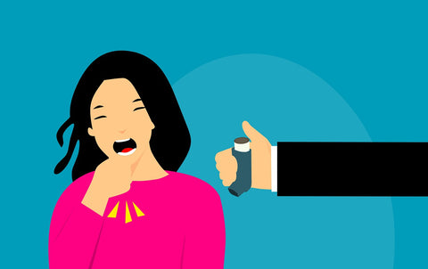 women coughing illustration