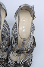 Load image into Gallery viewer, Chanel silver leather sandals