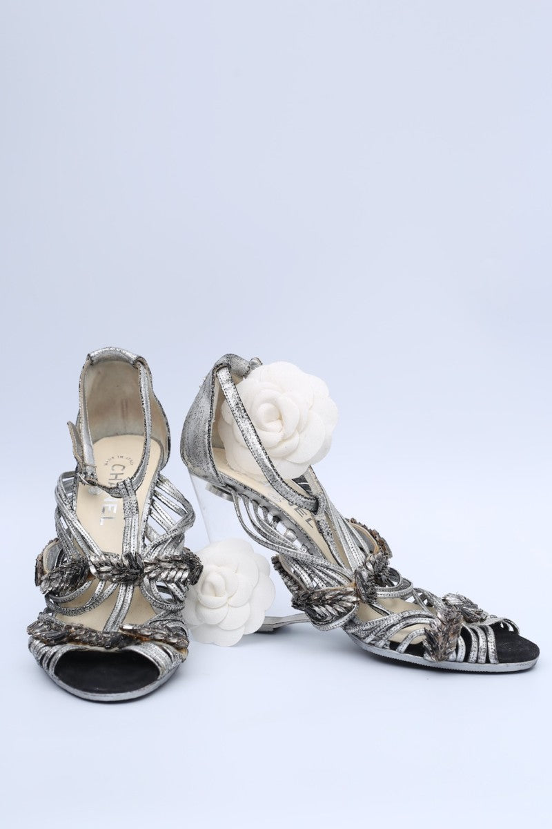 Chanel silver leather sandals