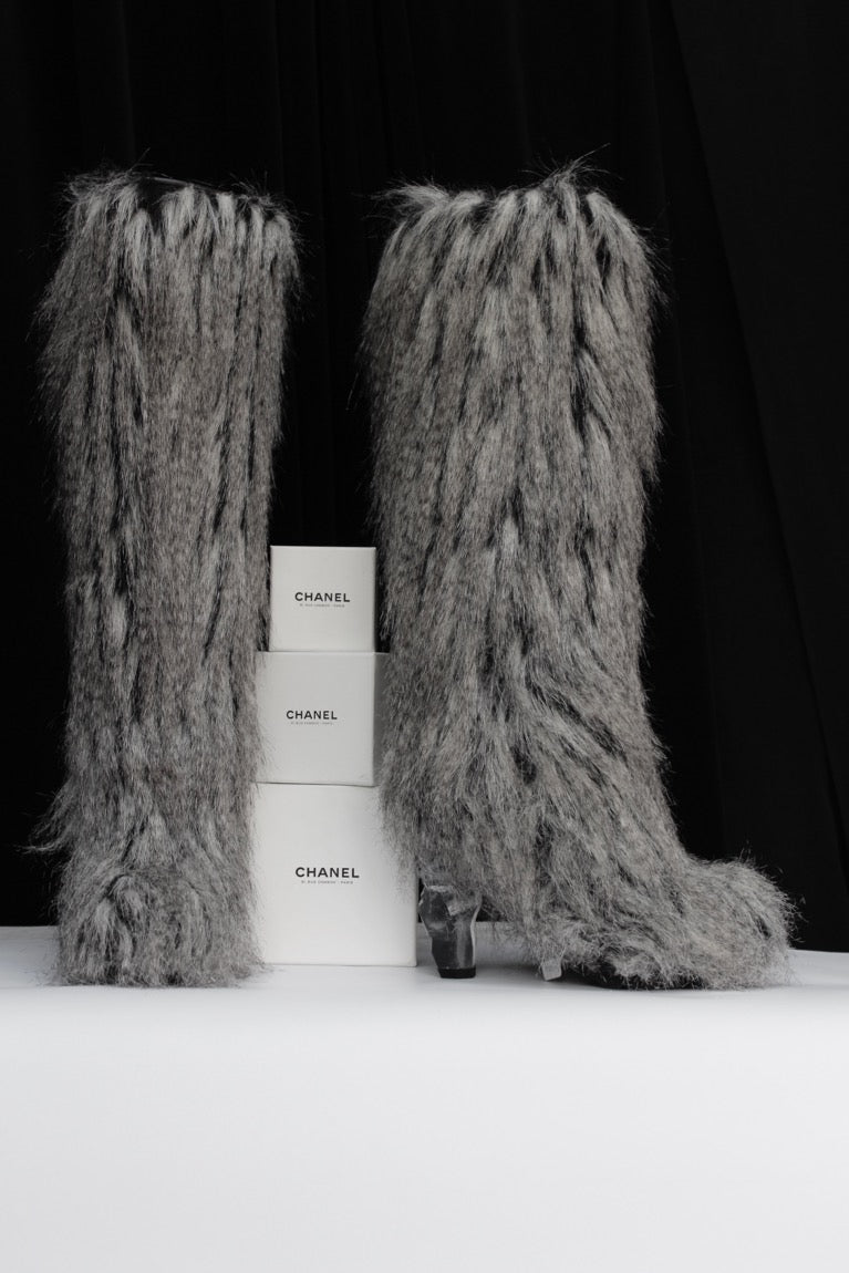 Chanel grey faux-fur boots, Fall-Winter 2010/2011