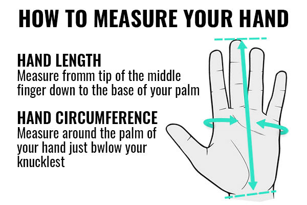 Motorcycle gloves hand measuring chart
