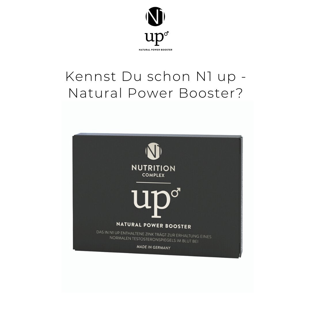 N1up-happy-man-Potenzmittel-Testpackung-Kennst du schon N1up?-Natural Power Booster-Produkt auf weißem Grund