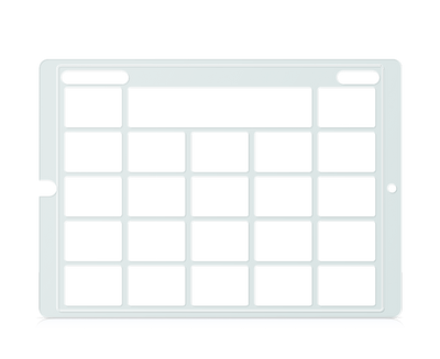 Speech Case Pro Keyguard for Snap Core First with 4x4 Vocabulary Grid 5x5 Total Grid with Menu