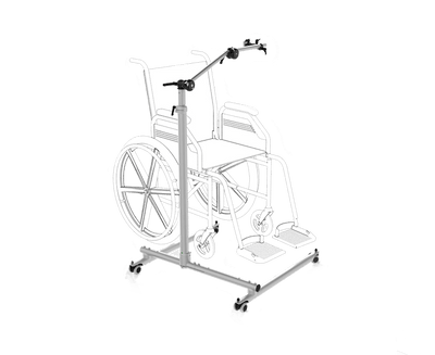 Tobii Dynavox ConnectIT FS-Vario Floorstand featuring a base that fits around a wheelchair