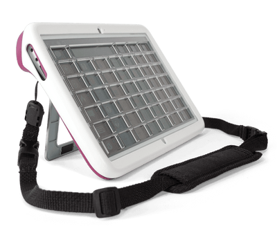 Tobii Dynavox Indi Durable Case Raspberry with Strap and Keyguard Holder side view