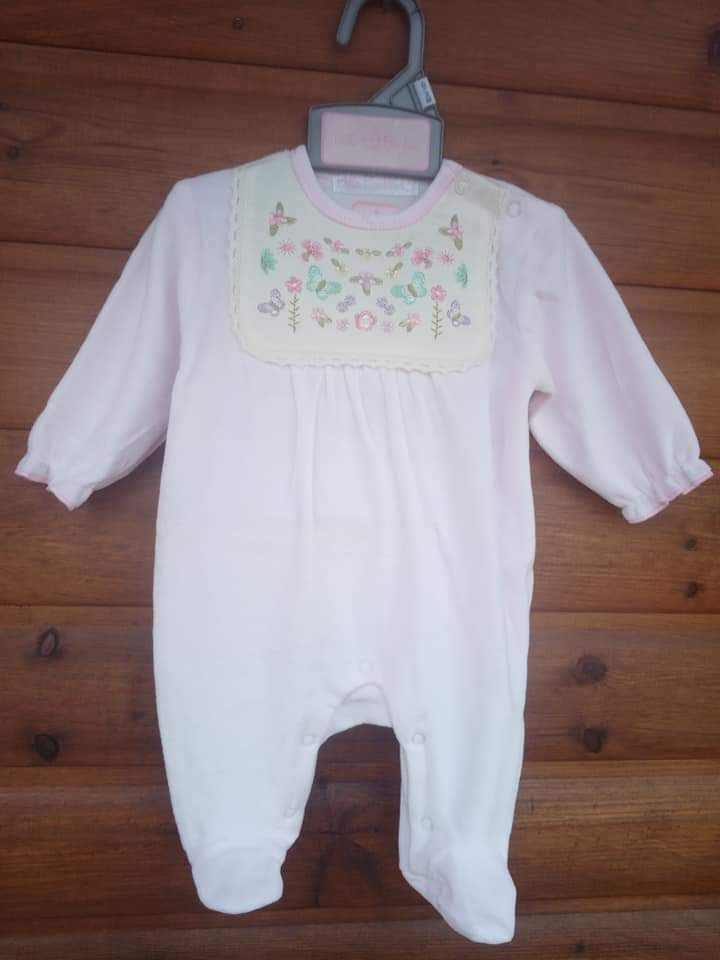 pink embroided babygrow