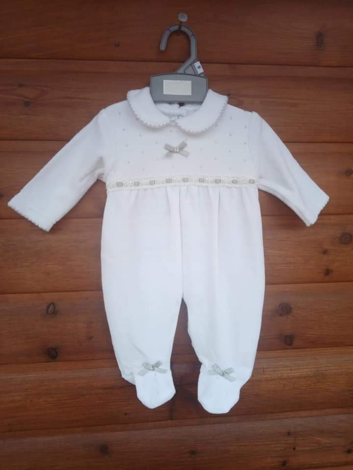 unisex white and grey baby grow