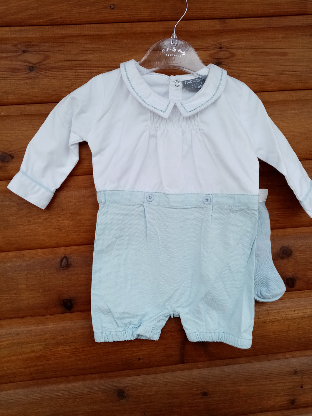 white and light blue set with socks